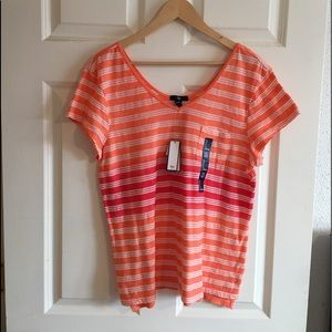 Gap Orange Stripped Short Sleeve Shirt. Sz L. NWT.